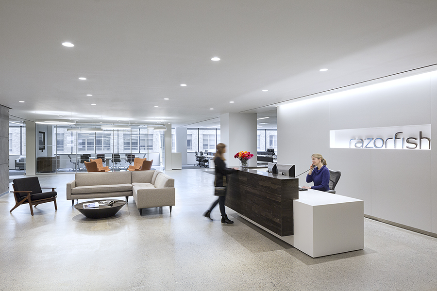 Razorfish nyc uses beveled basic led downlights for their office space for Downlight design living room
