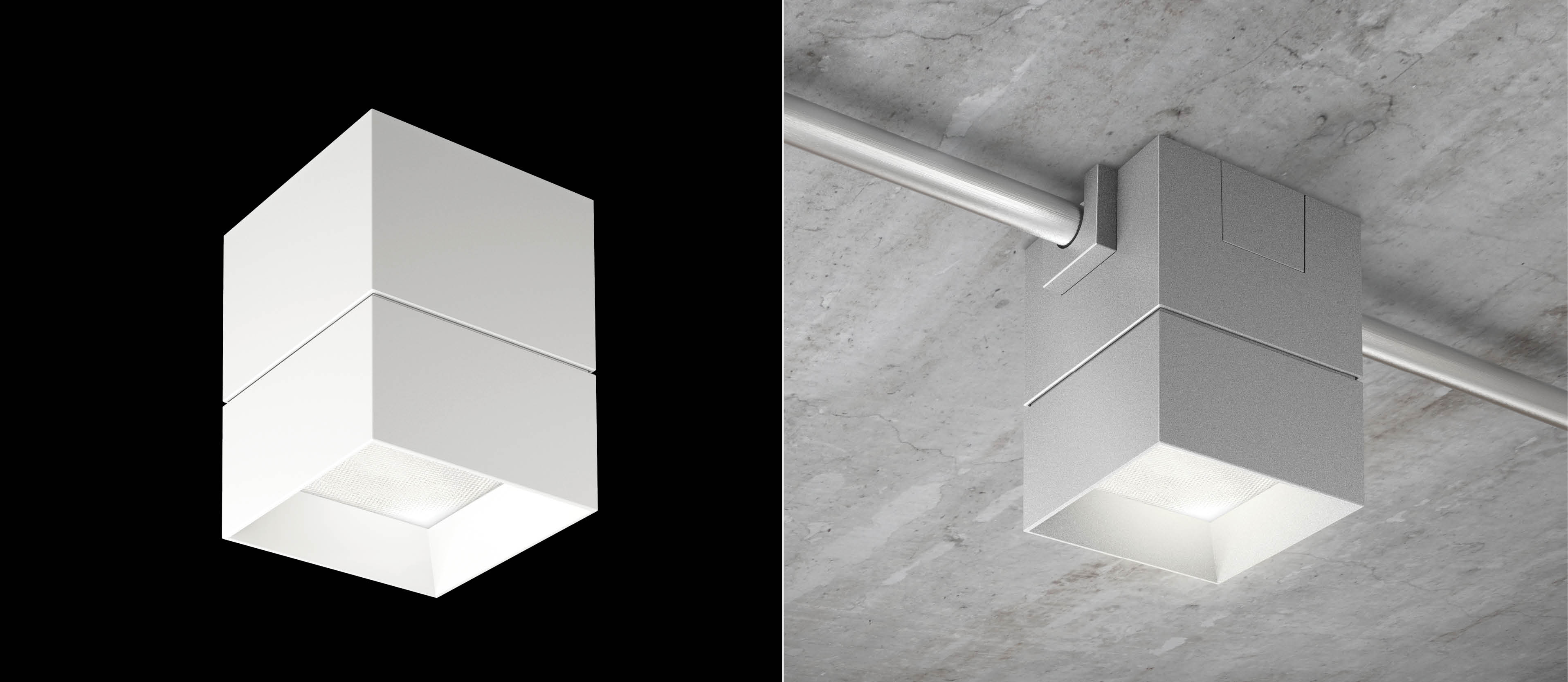 Beveled block led surface mount pendant fixtures for open beveled block is a 5 x 5 geometric light fixture specifically designed for use with surface mounted conduit and junction boxes in exposed or industrial arubaitofo Images